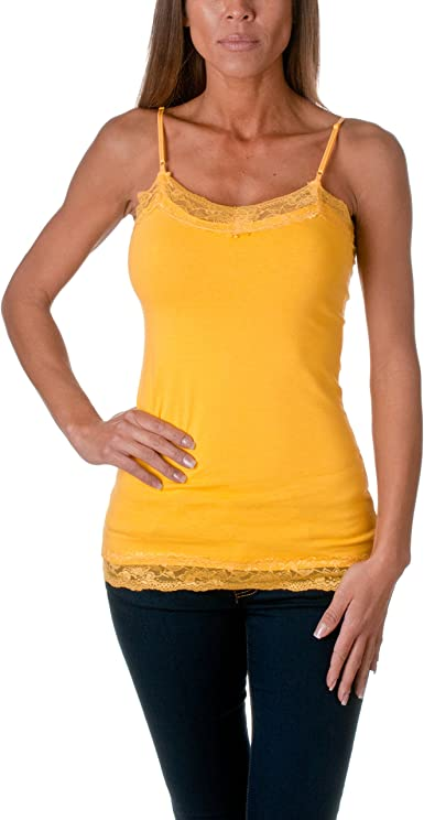 BLVD para mujer algodón encaje recortar largo camiseta de tirantes Amarillo amarillo: Amazon.es: Ropa y accesorios