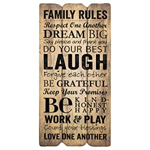 P. Graham Dunn Family Rules Small 12x6 Fence Post Art Decorative Wall Plaque
