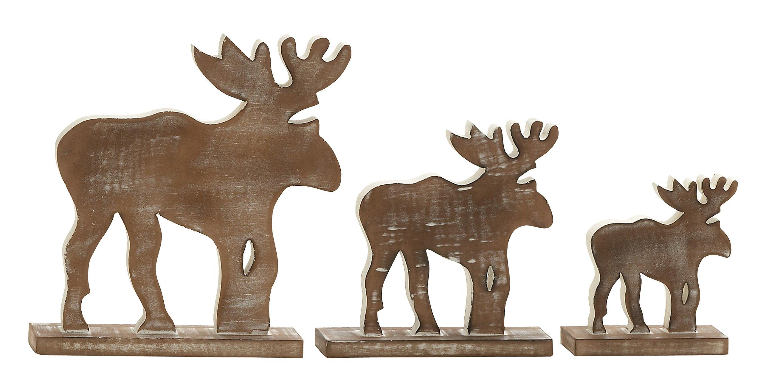 Plutus Brands Neat Wood Finish Wood Reindeer (Set of 3)