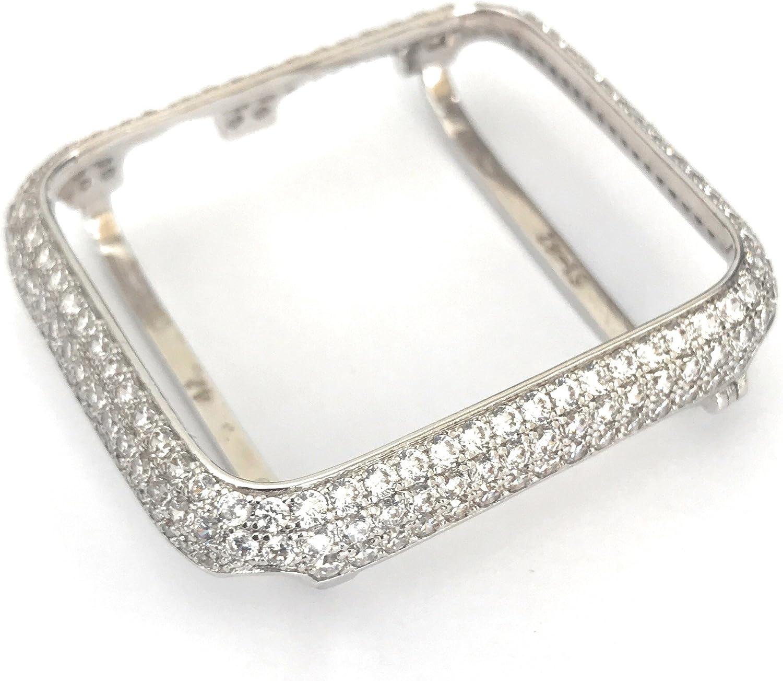 EMJ004 Series 1,2,3 Bling Apple Watch Zirconia Silver White Gold Case Insert Bezel 38/42mm