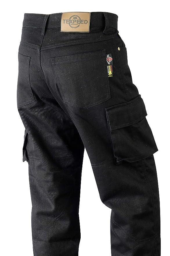 Mens Motorbike Motorcycle Moto Bike Black Cargo Padded Safety protective Jean Pant Trouser