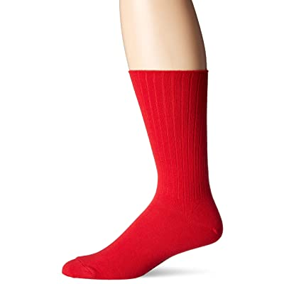 Chaps Men's Ribbed Solid Crew Socks, red, Shoe Size: 6-12 at Men's Clothing store