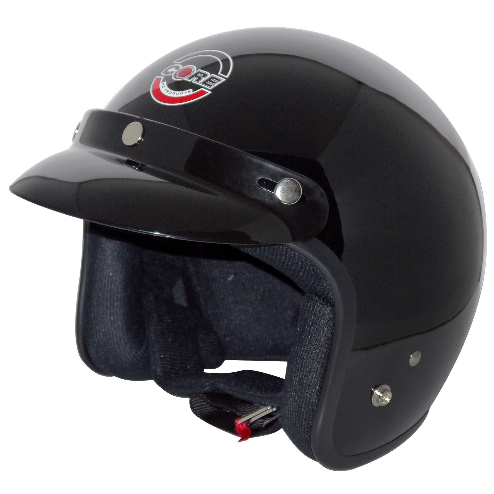 Core Vintage Open Face Helmet (Gloss Black, X-Large)