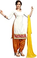 Crazy Women's Pure Cotton Embroidred Semi Stitched Patiala Salwar Suits (White, Free Size)