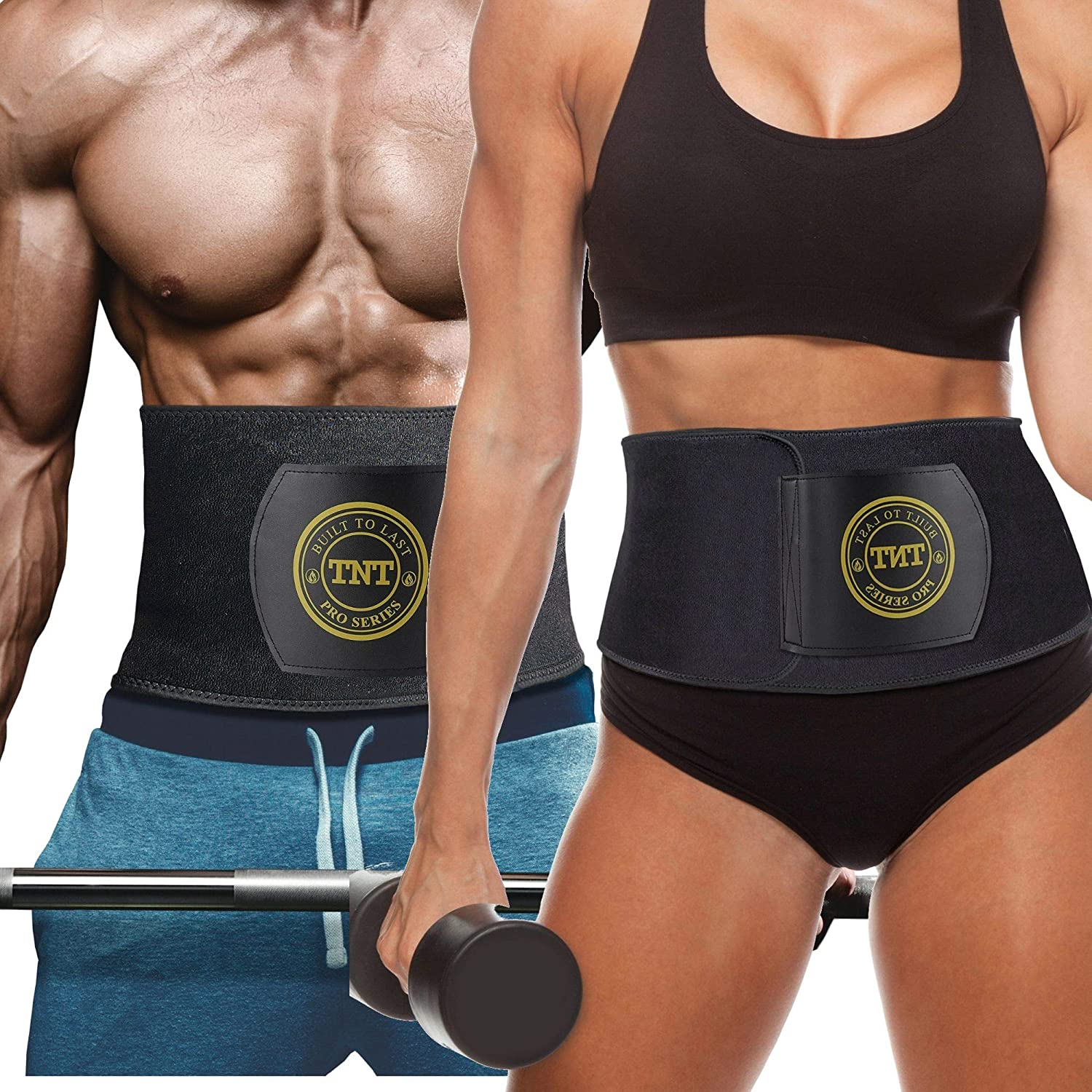 TNT Pro Series Waist Trimmer for Women and Men – Waist Trainer for Weight Loss Sweat Belt – Belly Fat Slimming Stomach Band – Lumbar Support Neoprene Wrap