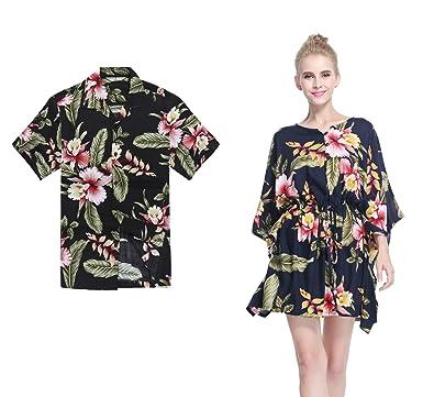 5b57ad43 Couple Matching Hawaiian Luau Aloha Shirt Poncho Dress in Black Rafelsia 2XL