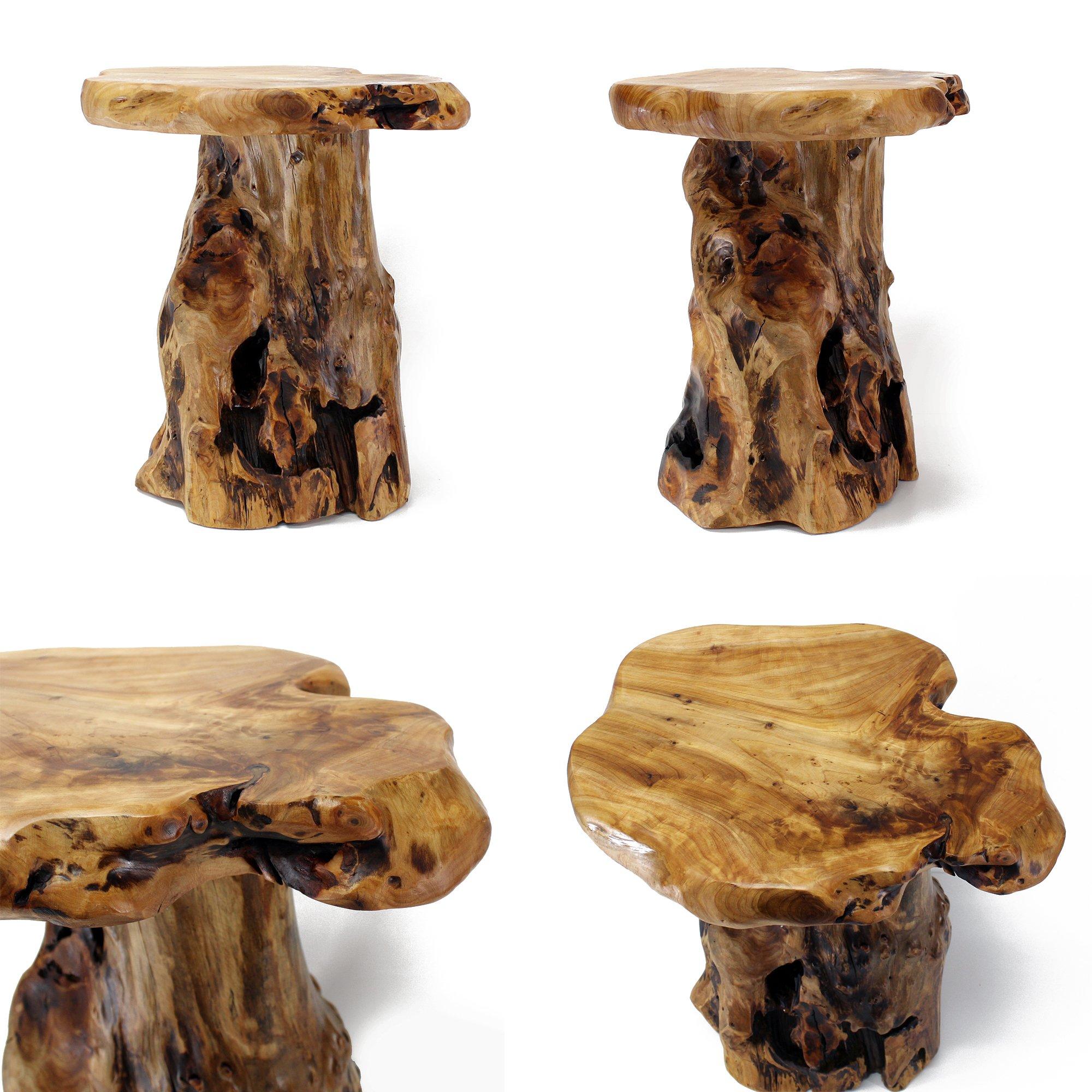 "Live Edge Coffee Table Amazon: WELLAND Tree Stump Side Table, Live Edge Stool, 20"" Tall"