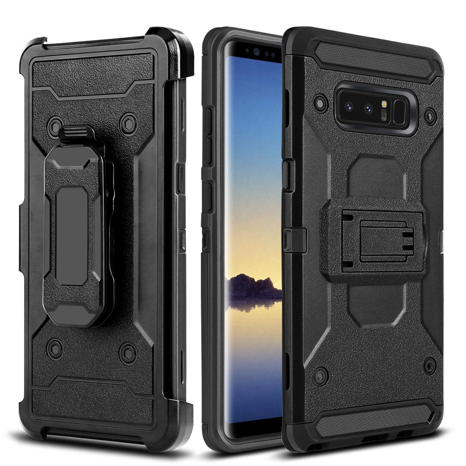 Note 8 Case, Galaxy Note 8 Case,Heavy Duty Drop Protection Shockproof Swivel Belt Clip Kickstand Durable Rugged Soft Silicone Hard PC Armor Protective Cover for Samsung Galaxy Note 8 - Black