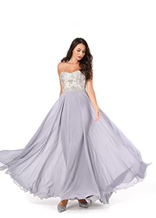 4472f08349 Amberry Women s Strapless Sweetheart Beaded Chiffon Long Evening Prom  Dresses with Detachable Shoulder Straps 1001(