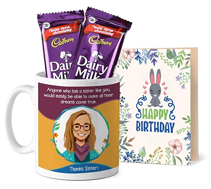TIED RIBBONS Gift For Sister On Her Birthday Printed Coffee Mug With Dairy Milk Chocolates And
