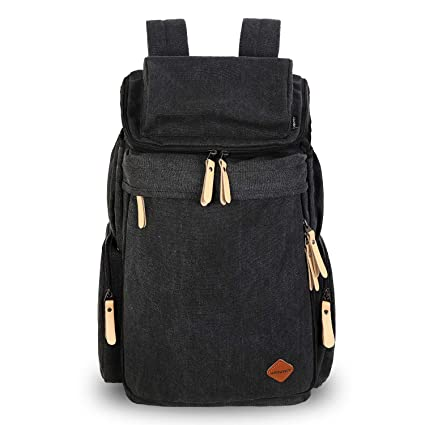 VENTCY Canvas Vintage Backpack Mens Womens Rucksack Black 30L Backpack  Student College Daypack Waterproof Expandable for Outdoor Campus Travel  ... 723846231e