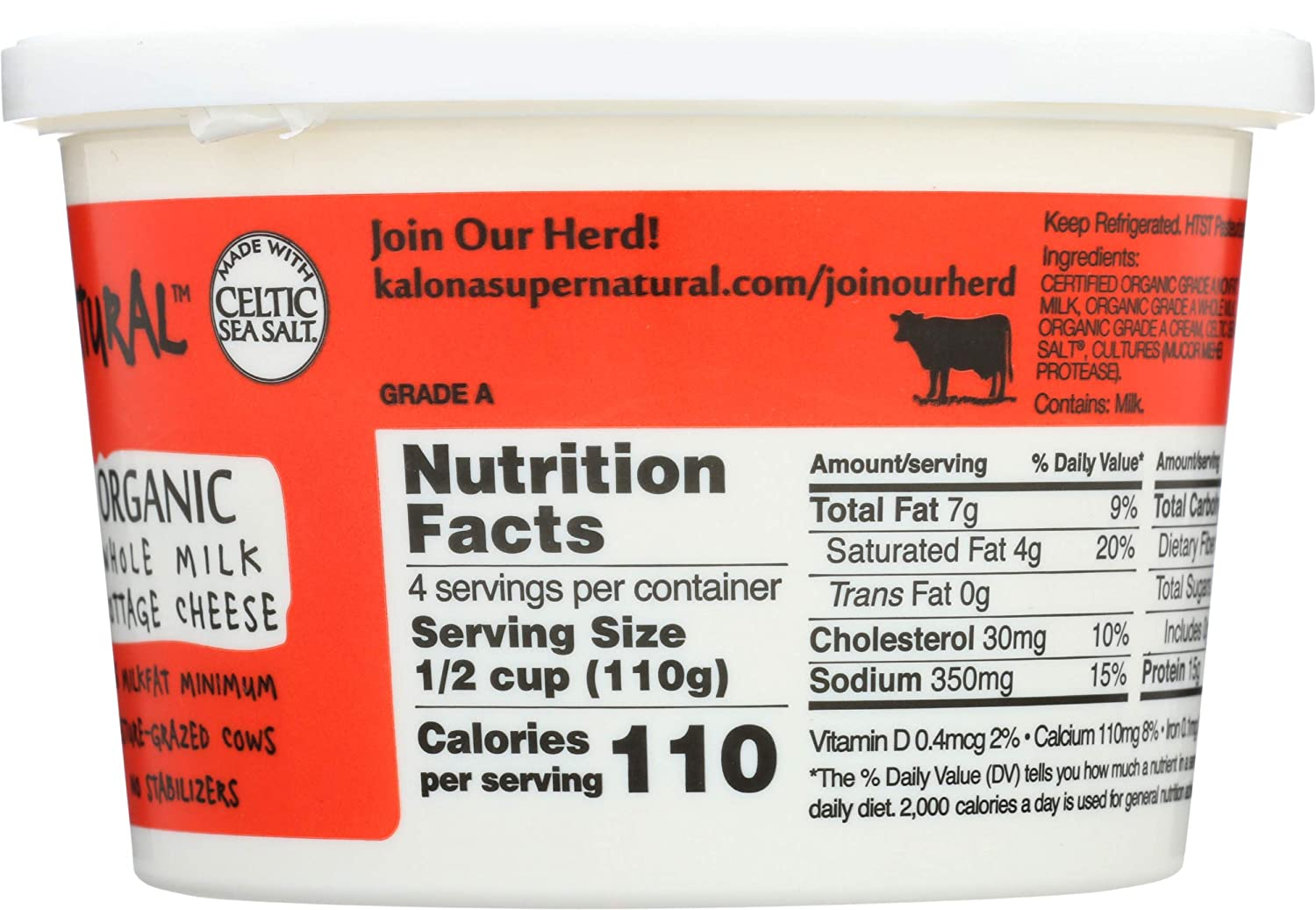 Kalona Supernatural Cottage Cheese Whole Organic 16 Ounce Amazon Com Grocery Gourmet Food