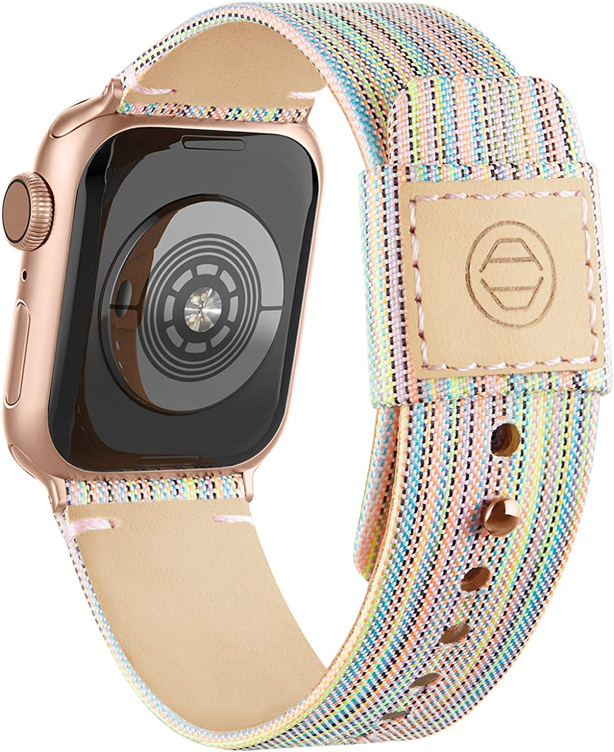 Adepoy Fabric Cloth Bands Compatible with Apple Watch 44mm 42mm 40mm 38mm,Canvas Strap with Soft Genuine Leather Lining and Snap Button for Apple iwatch Series 6/5/4/3/2/1 SE,Rainbow 38/40mm