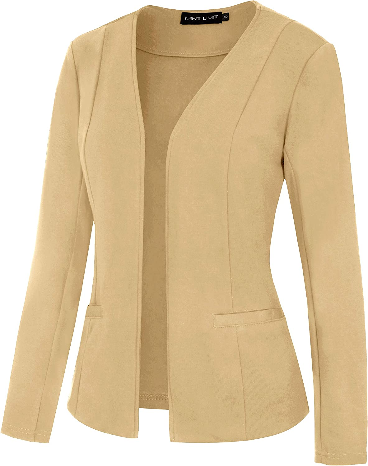 MINTLIMIT Womens Casual Long Sleeve Cardigan Open Front Blazer Collarless Work Suit Office Jacket with Pockets