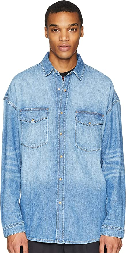 ce8494bc65 The Kooples Mens Washed Denim Shirt: Amazon.ca: Clothing & Accessories