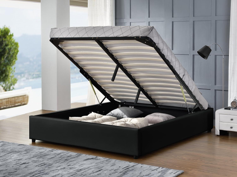 Podium schwarz Bett Premiumqualität 140 x 190 cm + Matratze 140 A ...