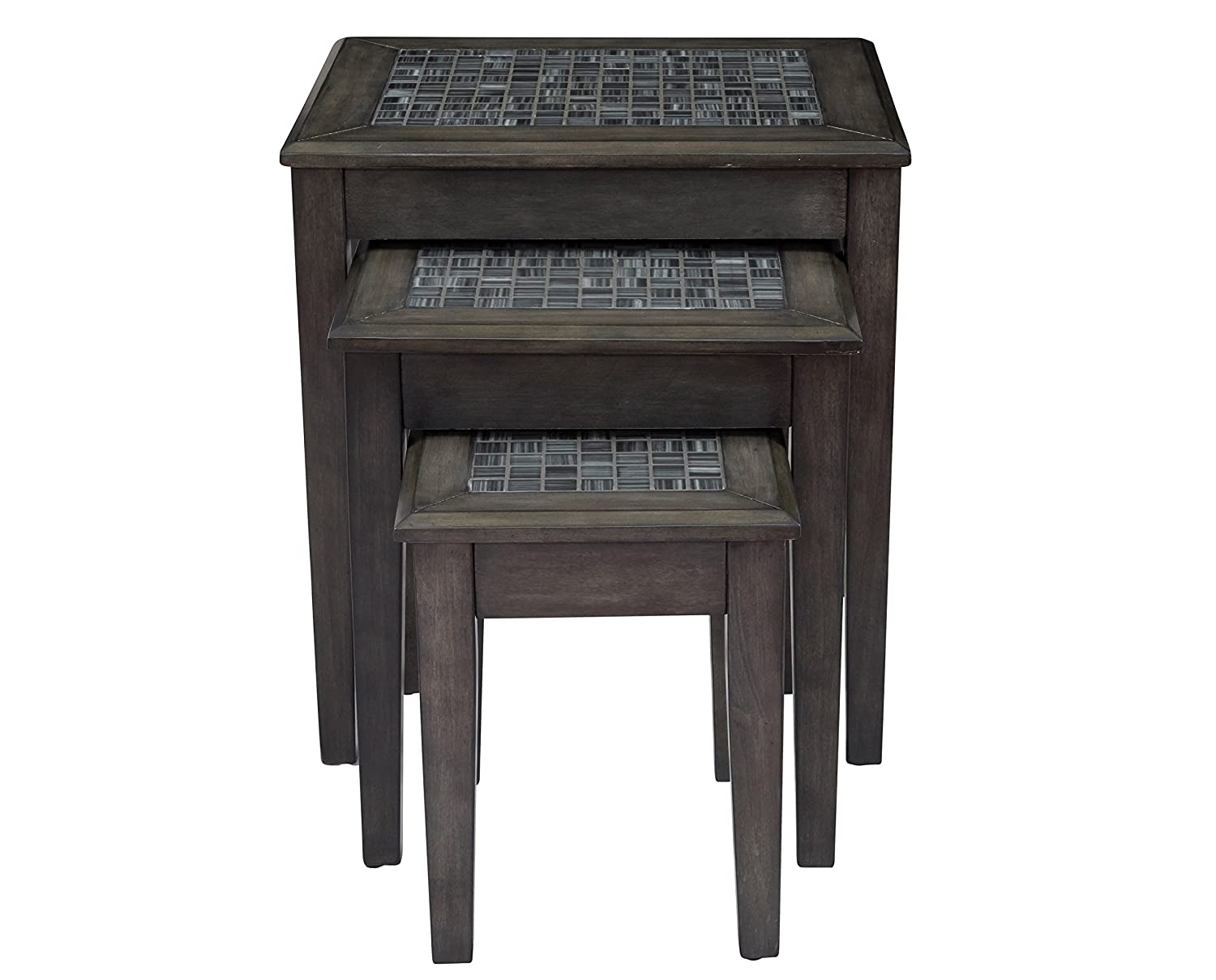 "Jofran 1798-7 Grey Mosaic Nesting Tables, Large 21"" WX 17"" 22"" H, Medium 16.25"" 15.25"" 19"" H, Small 12"" W X 14"" D X 15"" H, Dark Finish, (Set of 3)"