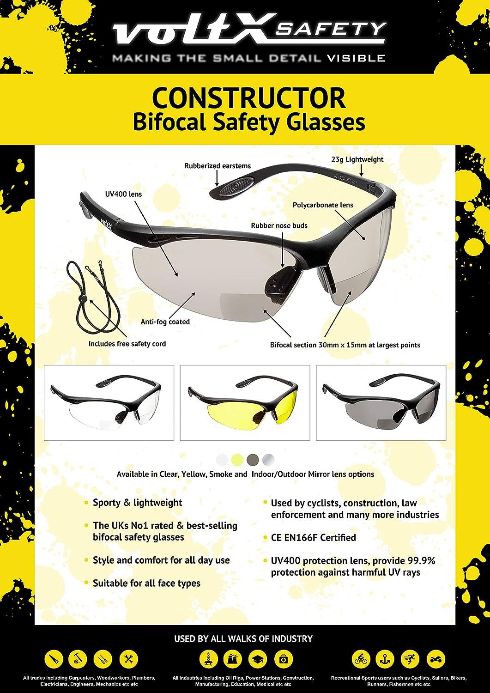Reading Safety Gafas de Seguridad de Lectura BIFOCALES que cumplen con la certificaci/ón CE EN166F // Gafas para Ciclismo incluye cuerda de seguridad estuche de seguridad r/ígido con bisagras ESPEJO dioptr/ía +2.0 voltX CONSTRUCTOR