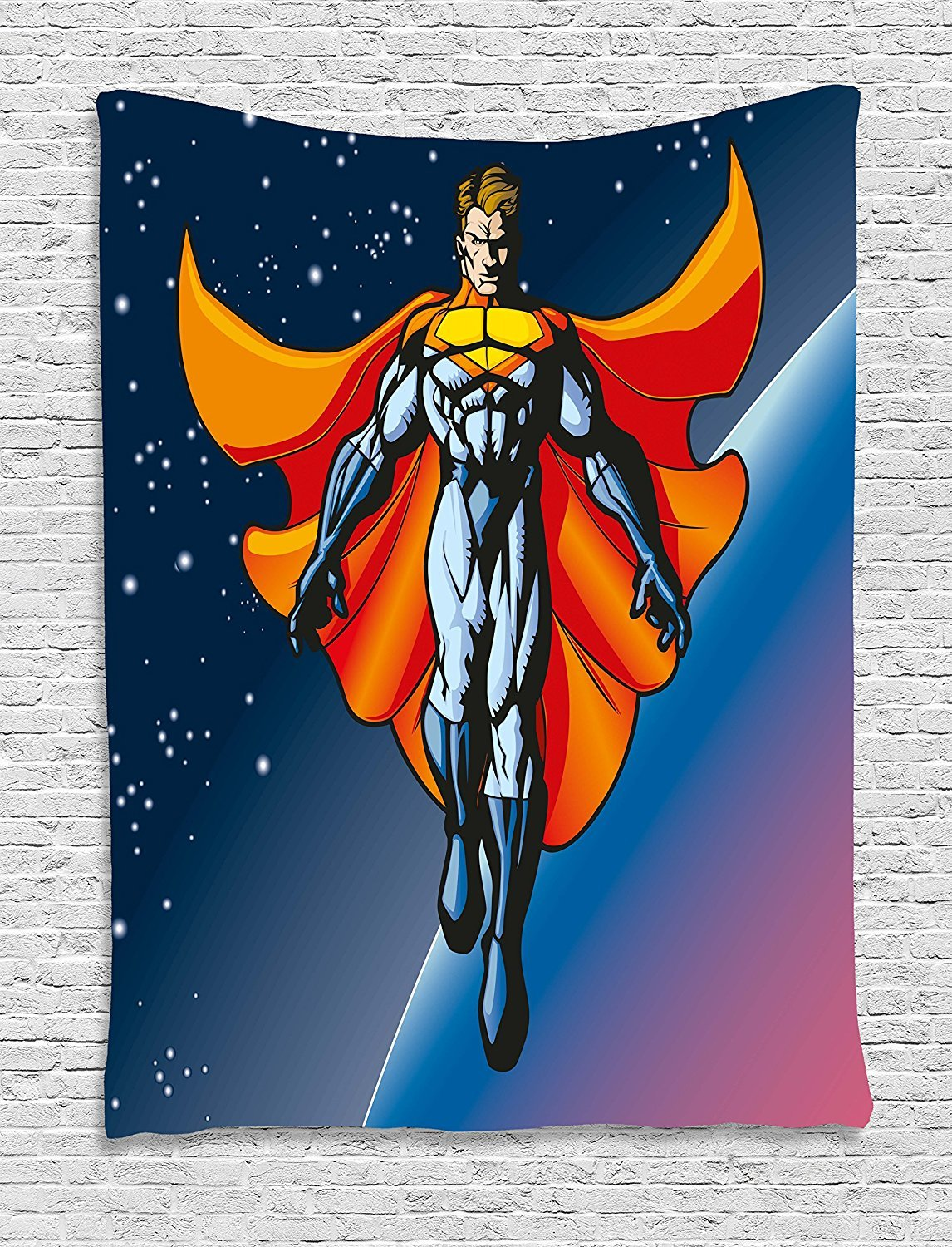 asddcdfdd Superhero Tapestry, Mutant Hero Floating in Space Planetary Stars Android Milky Way Background, Wall Hanging for Bedroom Living Room Dorm, 60 W X 80 L Inches, Night Blue Orange