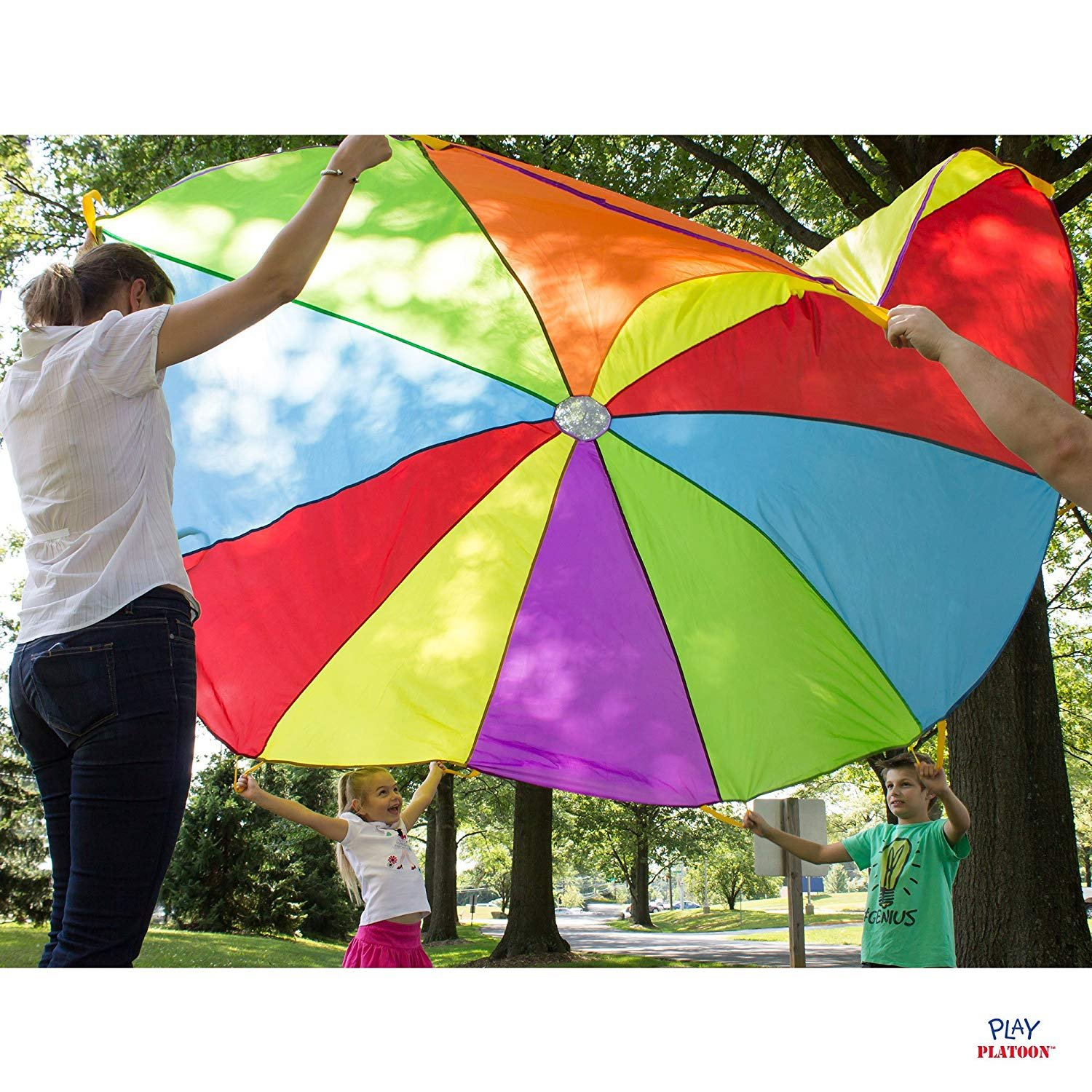 Multicolored Parachute for Kids Play Platoon 10 Foot Play Parachute with 10 Handles