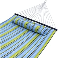 ZENY New Portable Cotton Hammock Quilted Fabric Pillow Double Size Spreader Bar Heavy Duty Outdoor Camping w/Detachable Pillow, Suitable 12FT Hammock Stand