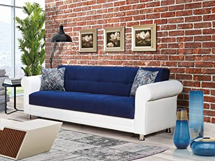 Amazon.com: Casamode Avalanche Sofa Bed Blue Chenille ...