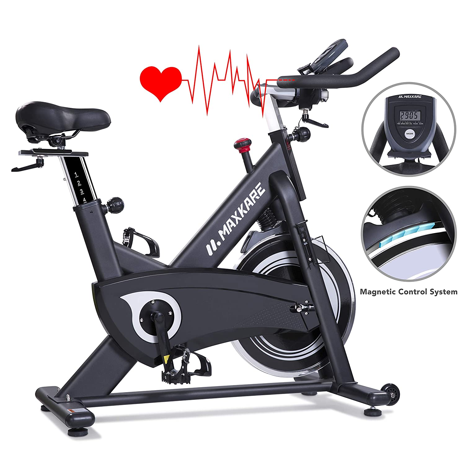 MaxKare Magnetic Exercise Bikes Stationary Belt Drive Indoor Cycling Bike with High Weight Capacity Adjustable Magnetic Resistance w/LCD Monitor
