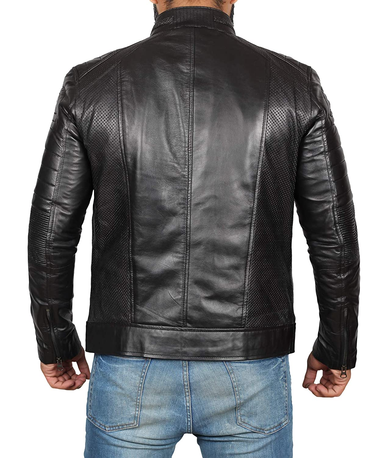93016e9edff Brown Leather Jacket Mens - Cafe Racer Real Lambskin Leather Distressed Motorcycle  Jacket at Amazon Men s Clothing store