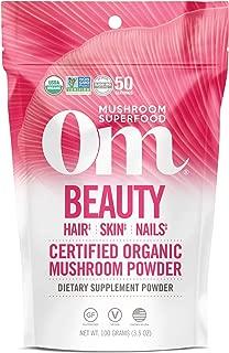 product image for Om Organic Mushroom Superfood Powder, Beauty: Hair Skin Nails, 3.5 Ounce (Pack of 1), Chaga, Cordyceps & Maitake , Antioxidants, Immune Support Supplement