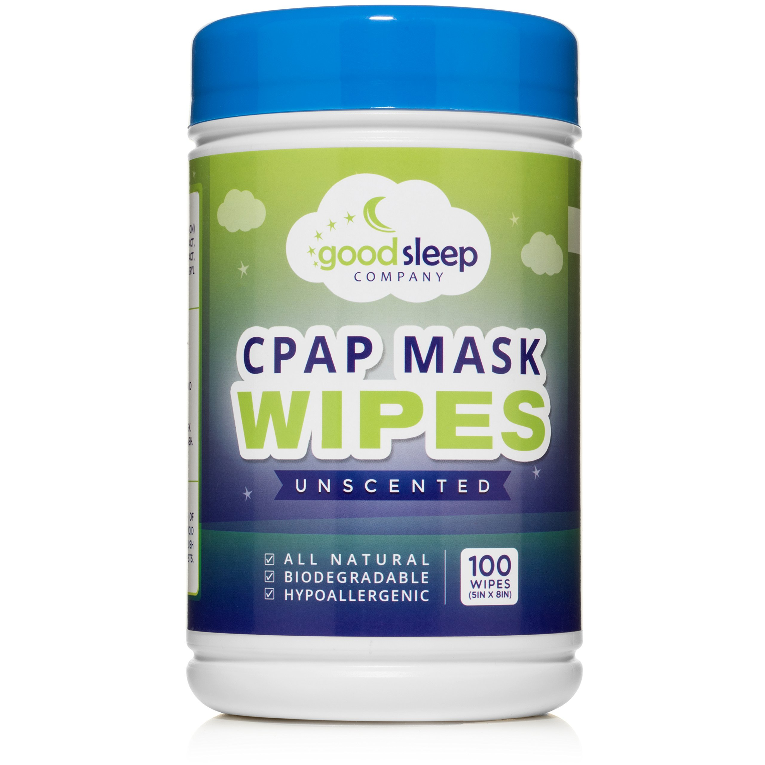 CPAP Mask Cleaning and Sanitizing Wipes, 100 Pack Unscented - Natural Formula, 100% Cotton and Biodegradable by GoodSleep Company