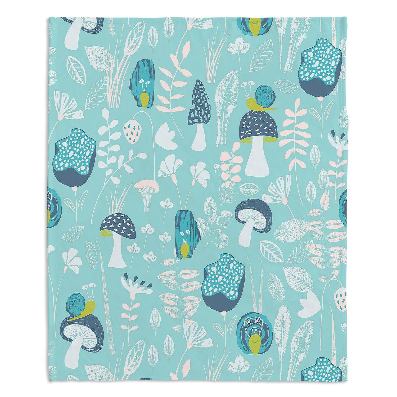 ブランケットウルトラソフトFuzzy 4サイズホーム装飾寝室ソファスローブランケットダイアノウチェデザインズ – Artist Metka Hiti – Snailsブルー Large 80