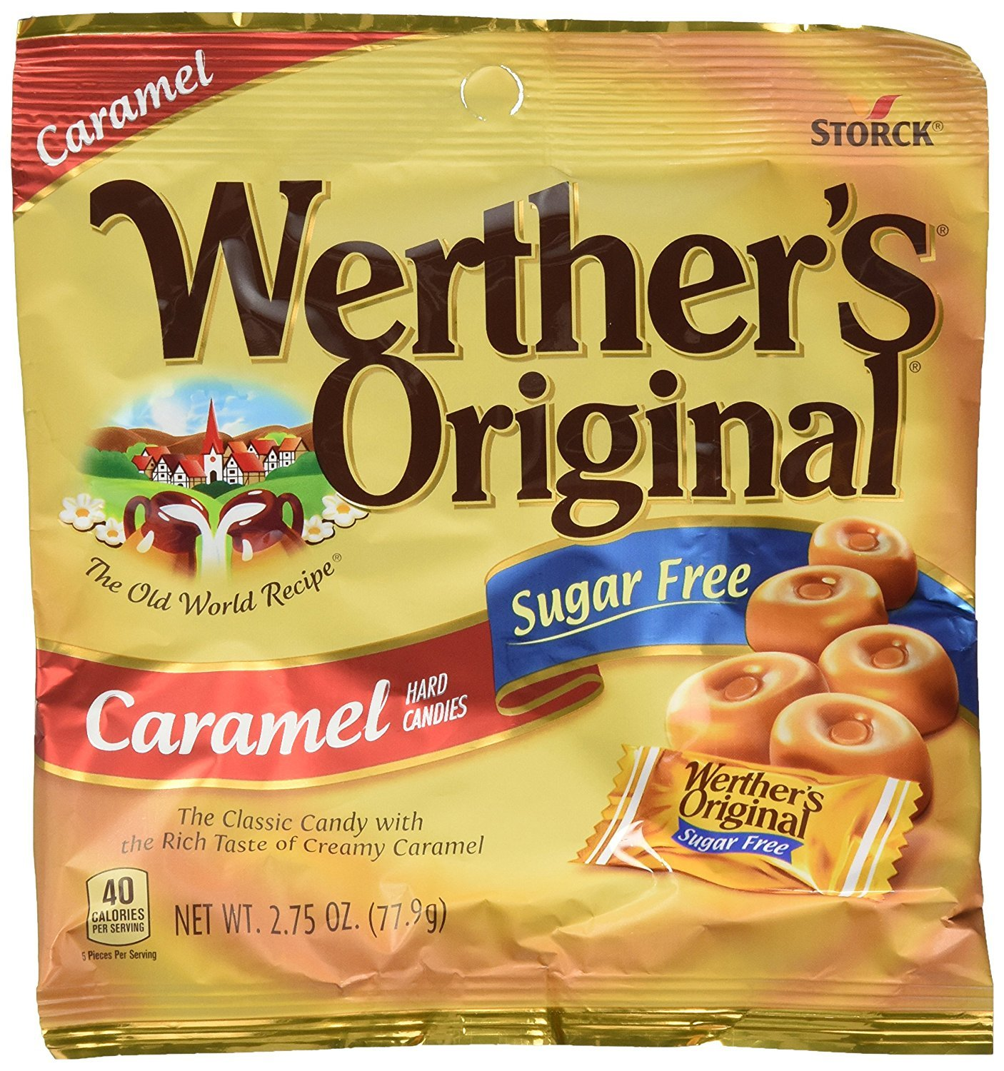 Werther's Sugarfree Caramel Hard Candy 2.75 oz. Bags - 12/Box by WERTHERS