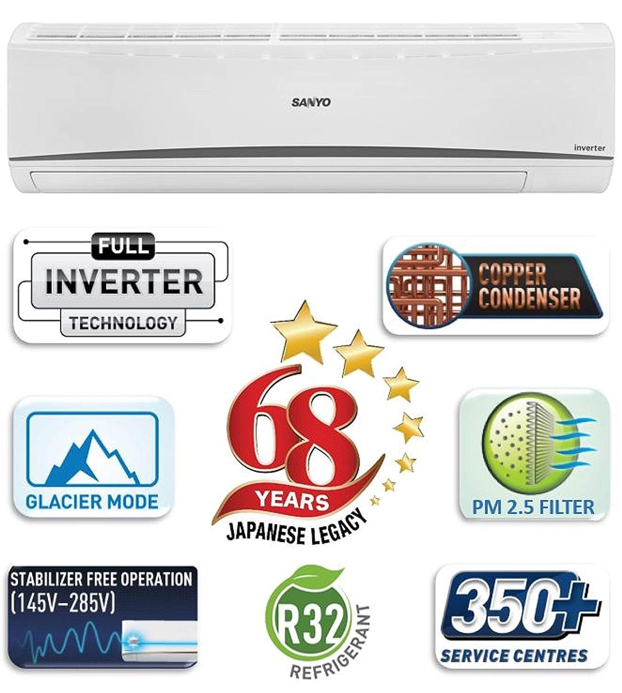 Sanyo 1.5 Ton 3 Star Dual Inverter Wide Split AC (Copper SI/SO-15T3SCIA White)
