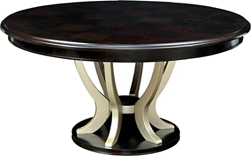 HOMES Inside Out Espresso and Champagne Sausa Round Dining Table