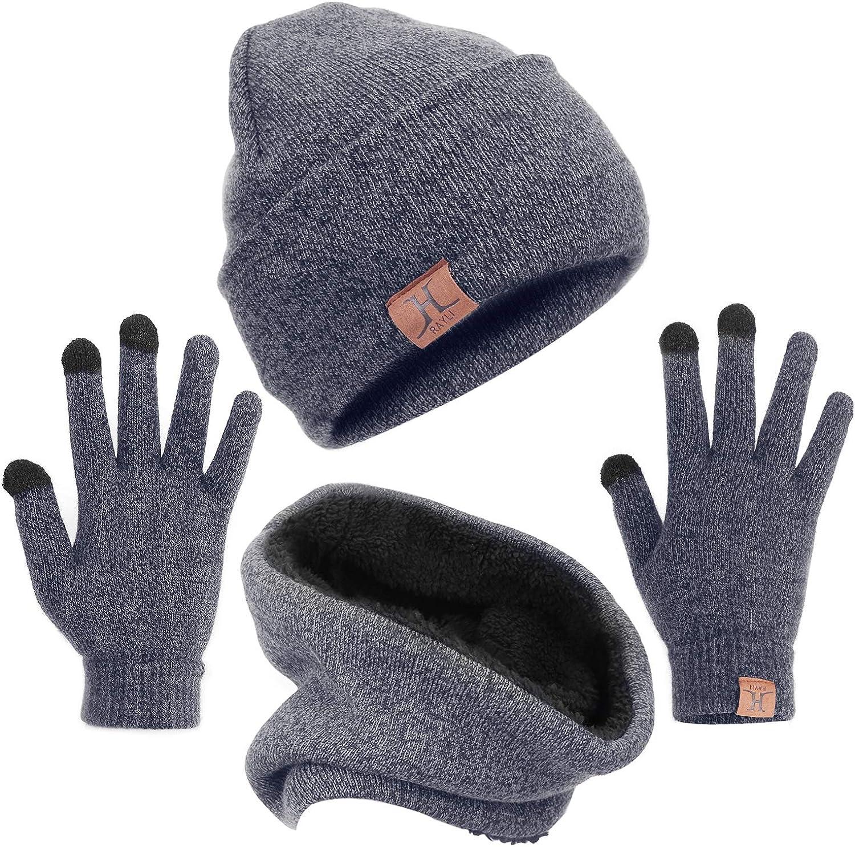 mysuntown Winter Beanie H/üte Schal Touchscreen Handschuhe 3 St/ück Hut Schal Handschuhe Set Dick Strickm/ütze Sch/ädel f/ür M/änner Frauen