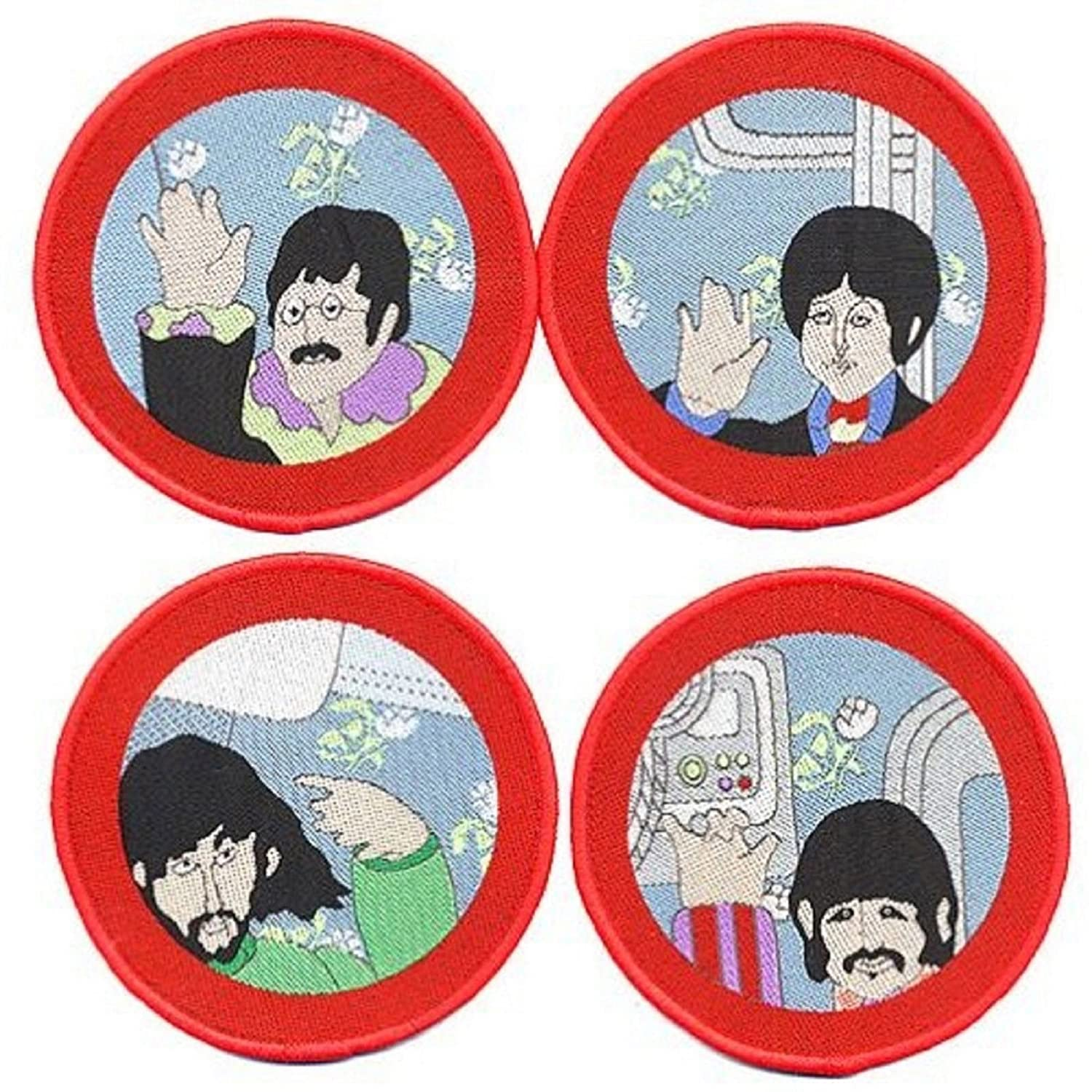 The Beatles Yellow Submarine Portholes Official 4x Circular Patch Set (8cm) Officially Liscenced Product