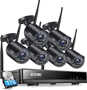 ZOSI 1080P Wireless Home Security Camera System, H.265+ 8CH CCTV Network Video Recorder (NVR) with Hard Drive 1TB and 6 x 1080P Auto Match WiFi IP Camera Outdoor Indoor,80ft Night Vision,Remote Access