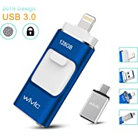 iPhone Photo Stick for iPhone 128GB Flash Drive for Computers Photostick for Backup Drive Android OTG Smart Phone Memory Stick Storage USB 3.0 Flash Drive for Type-C Device-Blue