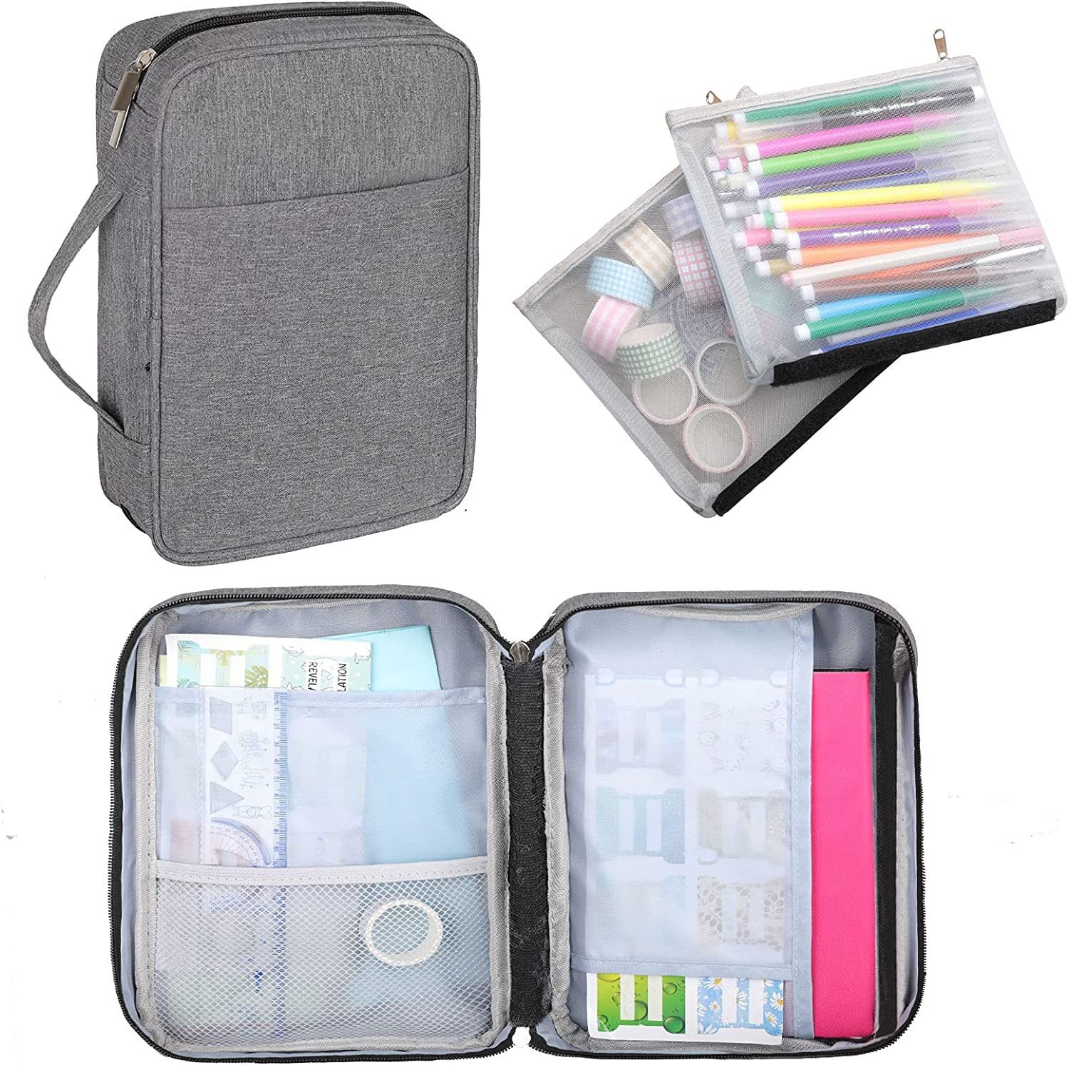 Dofilachy Journal Supplies Storage Case with 2 Detachable Layers-Upgrade Travel Organizer for A5 Planner,Pens,Bullet Journal Supplies and Accessories (Gray, Medium)