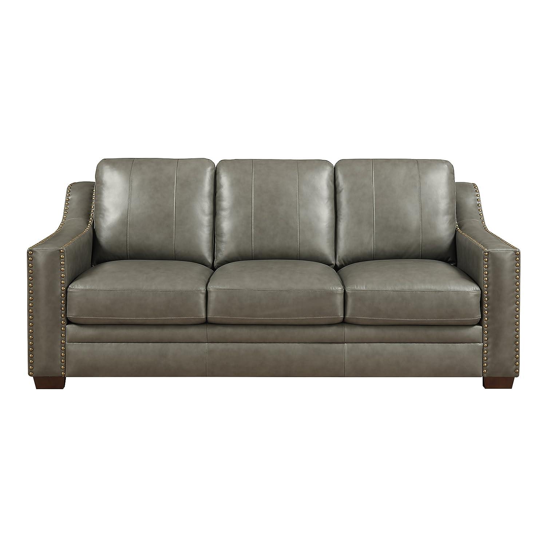 Amazon Com Stylistics Harrison Leather Sofa 83 X 39 X 39 Grey