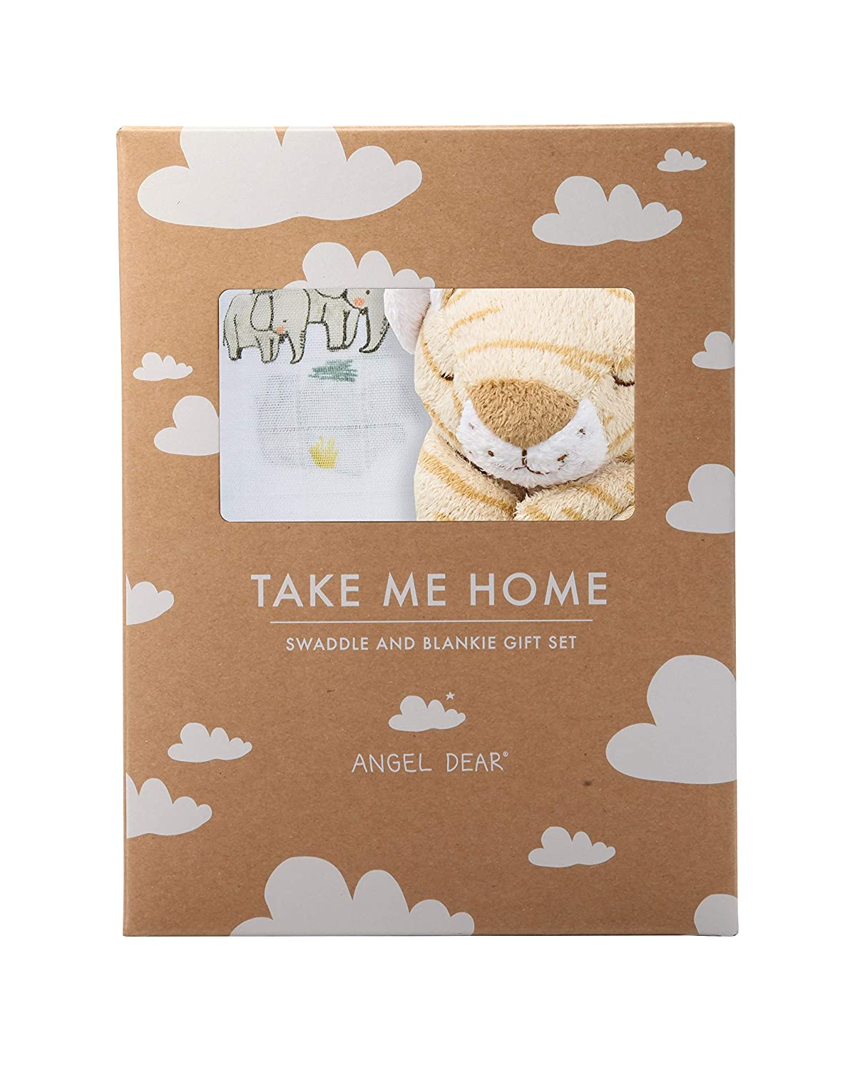 Angel Dear Swaddle and Blankie Gift Set, Endangered Species with Tan Tiger