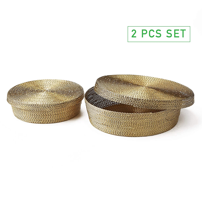ec9c6824ba5 Amazon.com: Mind Reader 2IBASK-GLD Golden Iron, Multi-Purpose Storage  Organizer Display, Large and Small Baskets, Set of 2, Gold, 2 Pc Set: Home  & Kitchen