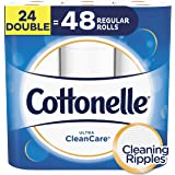 Cottonelle Ultra CleanCare Toilet Paper, Strong Biodegradable Bath Tissue, Septic-Safe, 24 Double Rolls