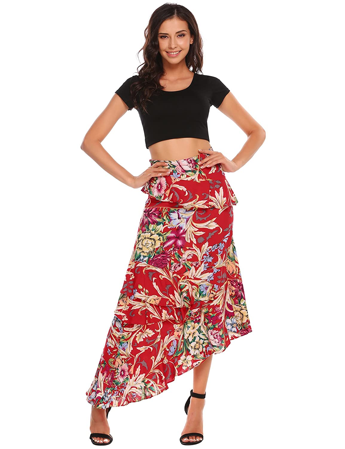 b2b5f85f3f Material: 100% Polyester. Soft and breathable material. Design: Lotus leaf  hem overlapping all of skirt, elegant and romantic. Maxi long ...