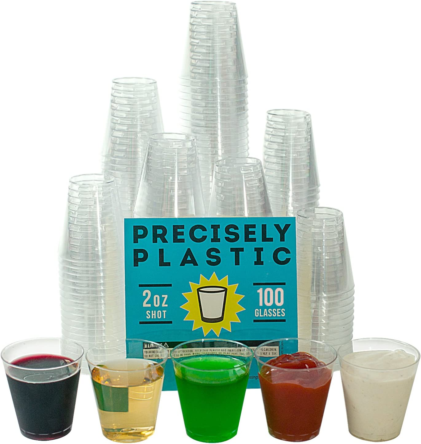 2 Height Perfect Stix Shot Glass 1oz-100 Plastic Disposable Shot Glasses 2 Width 4 Length 1 oz Pack of 100