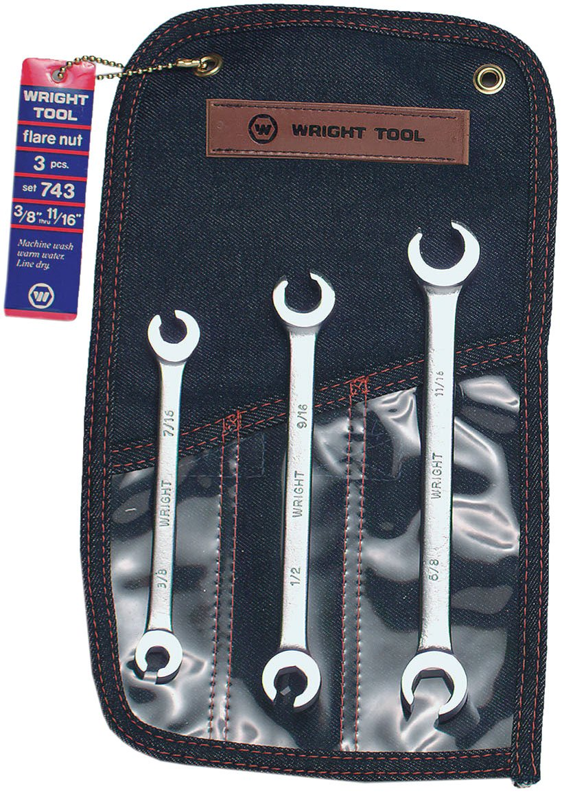 Wright Tool 743 Flare Nut Wrench Set, 3/8'' - 11/16'' (3-Piece)