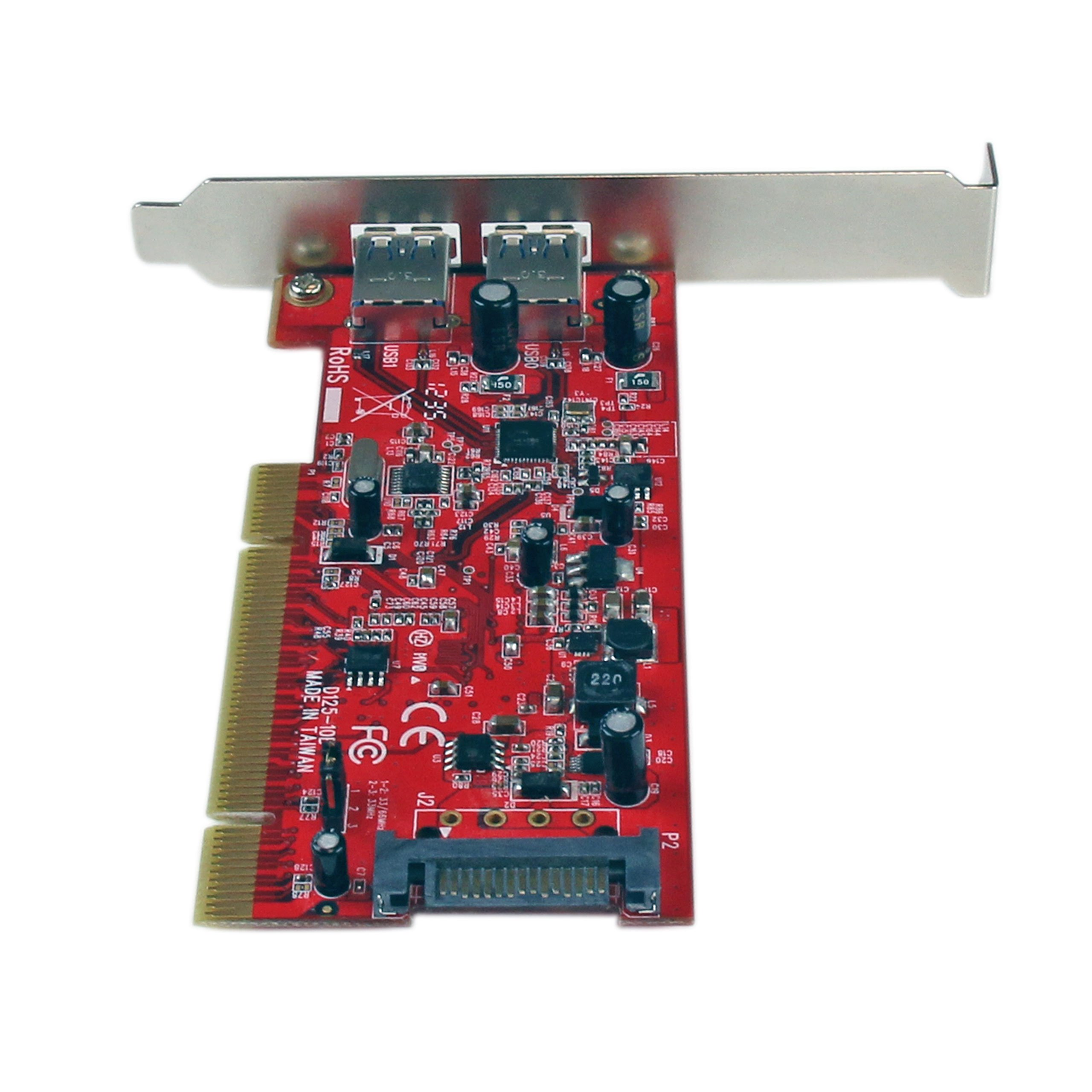 2 Port PCI SuperSpeed USB 3.0 Adapter Card with SATA Power - Dual Port PCI USB 3 Controller Card by StarTech (Image #4)