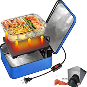 SabotHeat Mini Portable Oven - 120V 90W Fast Heating Portable Microwave with On/Off Switch for Reheating & Raw Food Cooking, Portable Food Warmer Lunch Box for Office, Travel, Home Kitchen(Blue)