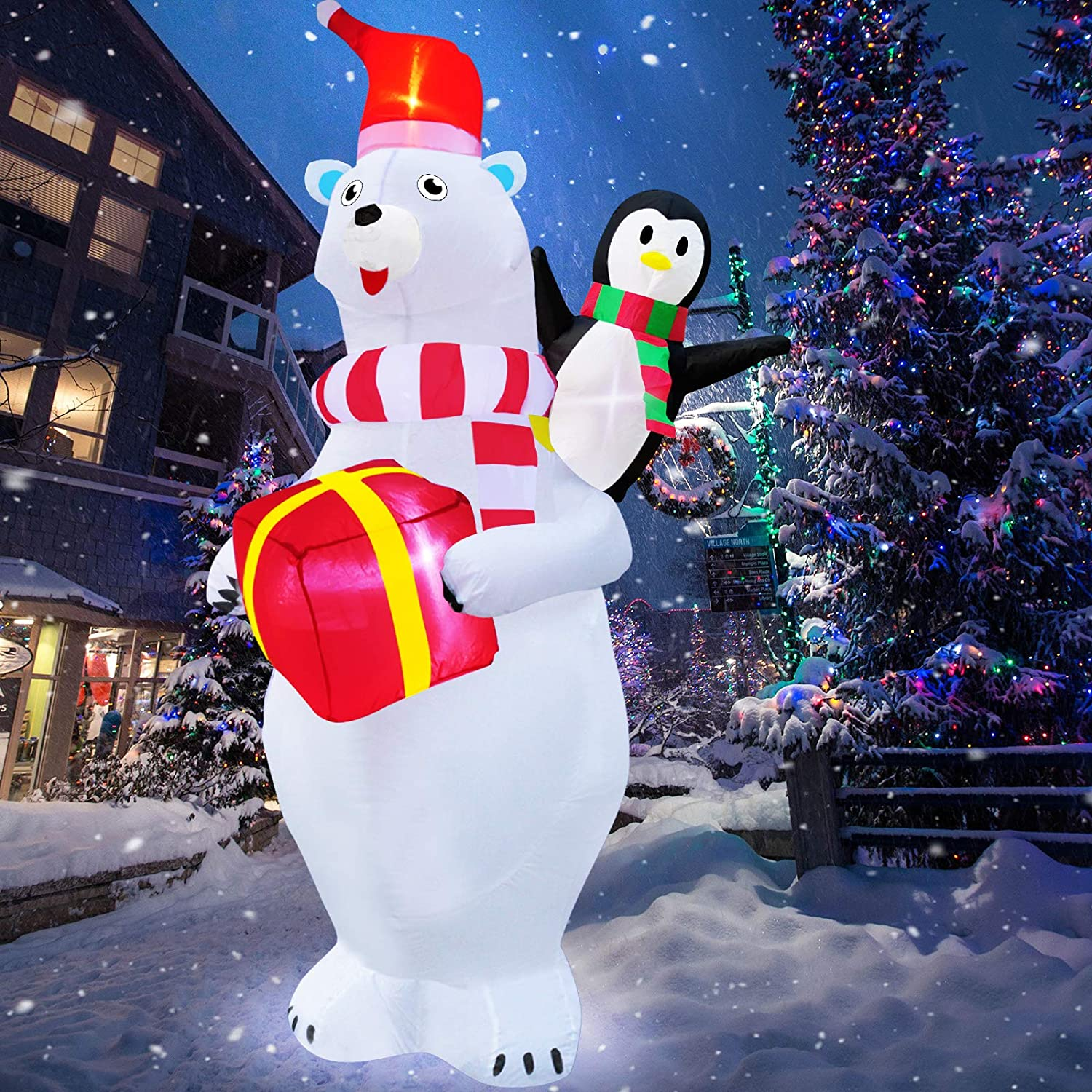 TURNMEON 8 Feet Christmas Inflatables Christmas Decoration Blow up Santa Polar Bear Penguin with Tether Stakes LED Lighted Holiday Xmas Yard Decoration Outdoor Lawn Garden Home Party Decor