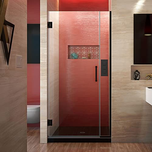DreamLine Unidoor Plus 32 1 2 – 33 in. W x 72 in. H Frameless Hinged Shower Door in Satin Black, SHDR-243257210-09